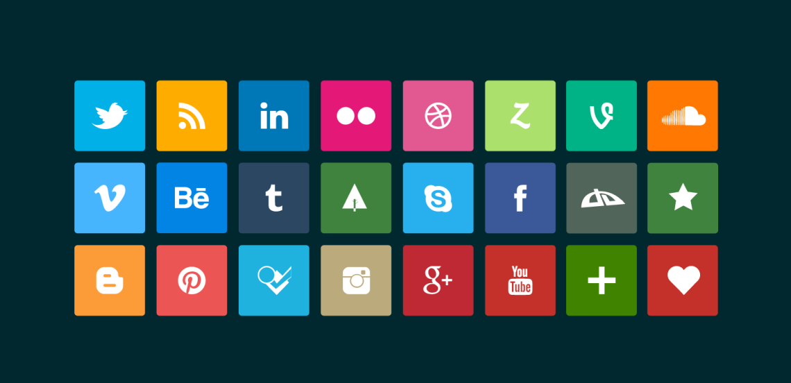 10 Clean Elegant Free Flat Social Media Icons
