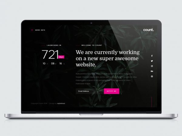 Count Coming Soon Landing Page Template